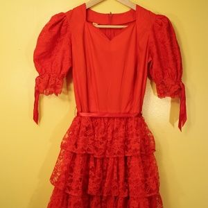 Red Lace Vintage Western Victorian Dress 70s